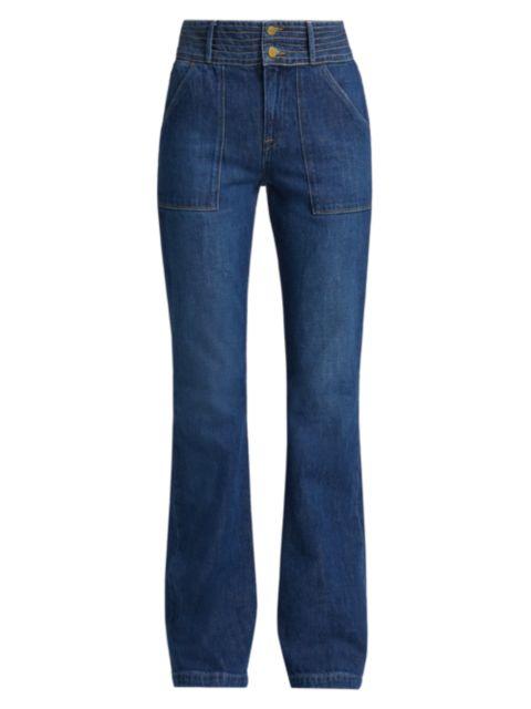 Frame Le High Patch Pocket Trapunto Stitch Flared Jeans | SaksFifthAvenue