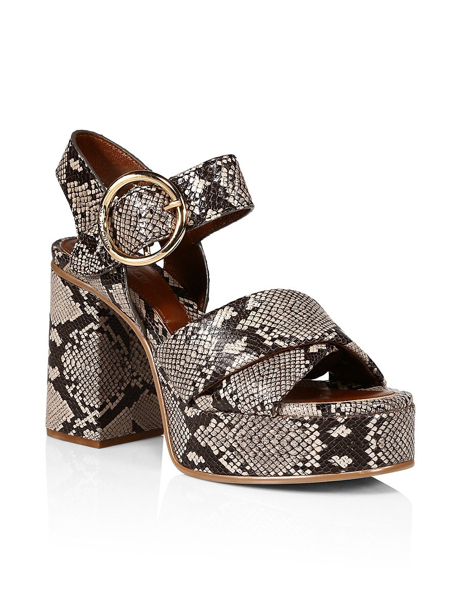 SEE BY CHLOÉ Sandals WOMEN'S LYNA PYTHON-EMBOSSED LEATHER PLATFORM SANDALS