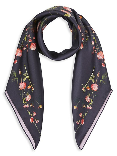 Rose Print Silk Square Scarf