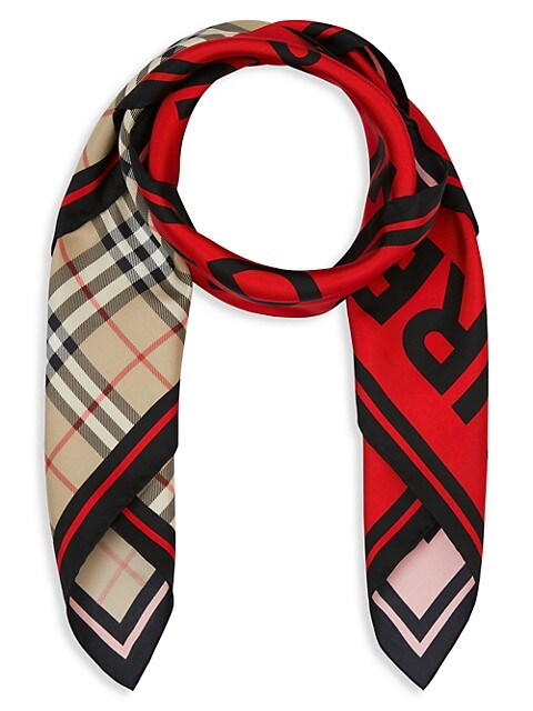 Vintage Check & Horseferry-Print Silk Scarf