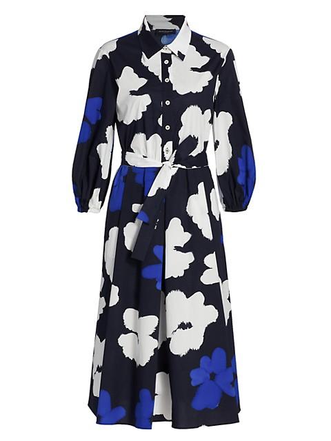 Watercolor Flowers Stretch Cotton Popline Fit-&-Flare Dress