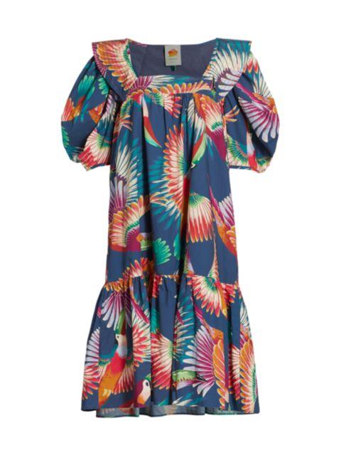 Farm Rio Toucan Puff-Sleeve Midi Dress | SaksFifthAvenue