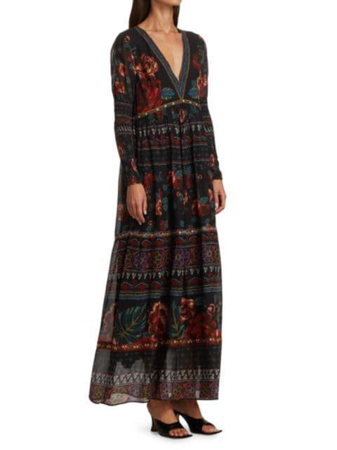 Farm Rio Embroidered Floral Maxi Dress | SaksFifthAvenue
