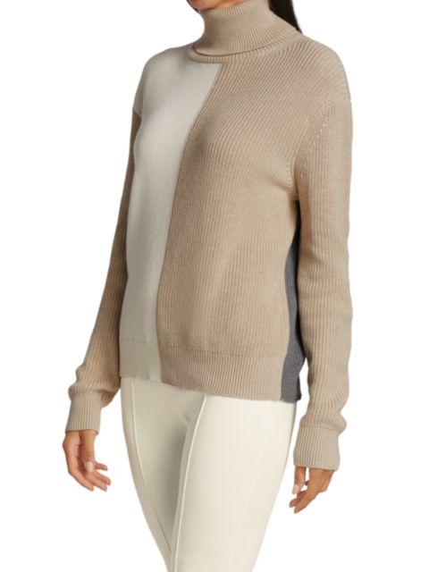 Joan Vass Colorblock Turtleneck Sweater   SaksFifthAvenue