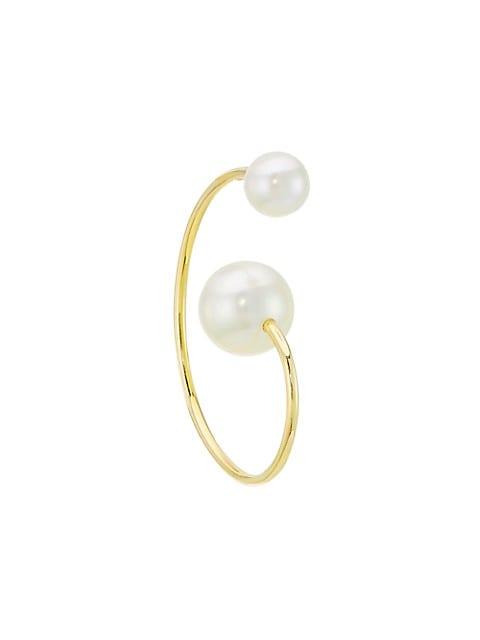 Wild Beauty 18K Yellow Gold & 3.5-8.5MM Pearl Petite Babylon Elipse Single Hoop Earring