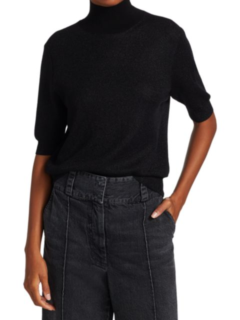 Rachel Comey Metallic Knit Cropped T-Shirt   SaksFifthAvenue