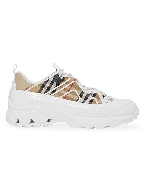 Burberry Arthur Vintage Check Cotton & Leather Chunky Sneakers