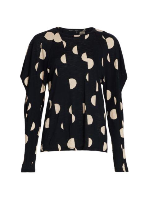 Proenza Schouler Printed Tissue Broken Dot Puff-Sleeve Shirt | SaksFifthAvenue