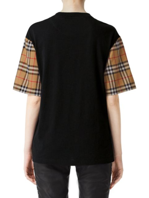 Burberry Plaid Sleeve T-Shirt   SaksFifthAvenue