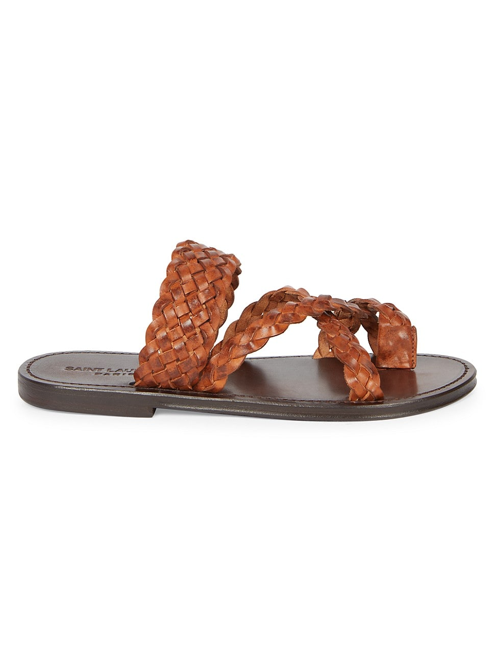 Saint Laurent WOMEN'S NEIL BRAIDED LEATHER SLIDE SANDALS