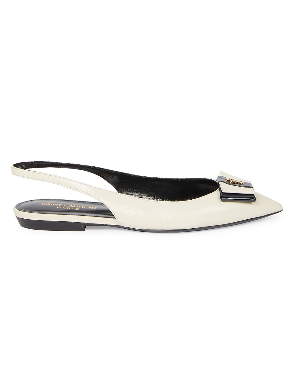 Saint Laurent WOMEN'S ANAIS LEATHER SLINGBACK FLATS