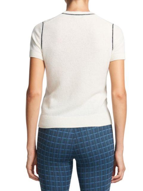Theory Contrast-Trim Cashmere T-Shirt   SaksFifthAvenue