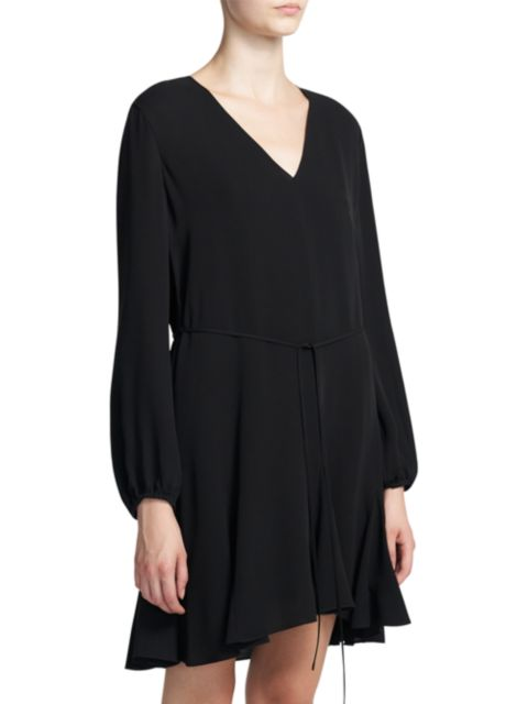 Theory Godet Silk V-Neck Shift Dress   SaksFifthAvenue