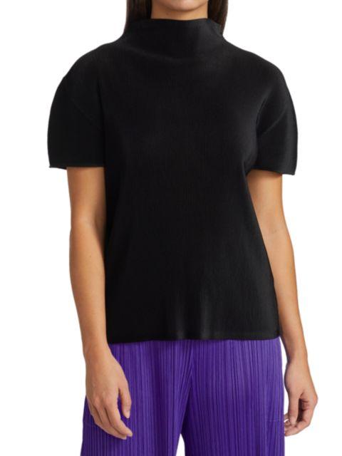 Pleats Please Issey Miyake Mist Basics Mockneck Short-Sleeve Top | SaksFifthAvenue