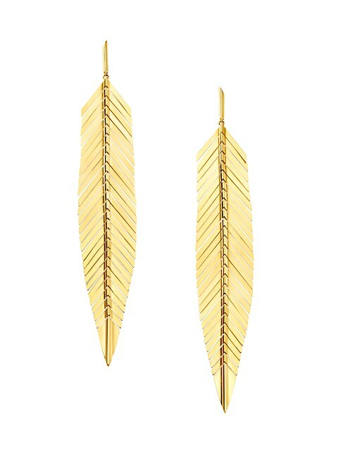 Large 18K Yellow Gold Feather Earrings