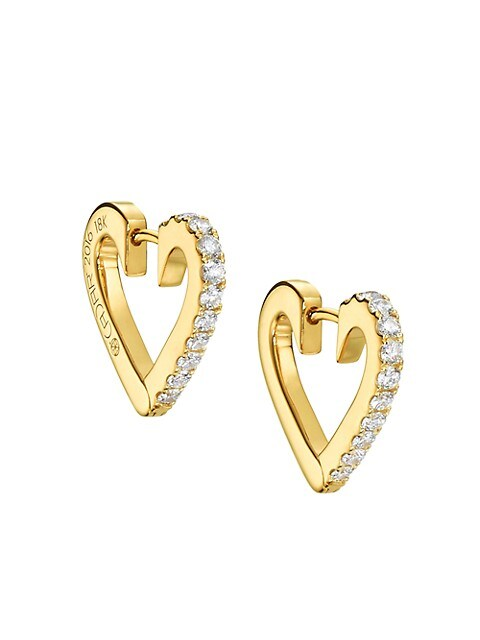 Endless 18K Yellow Gold & Diamond Small Heart Hoop Earrings