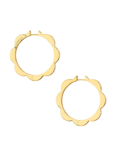 Bloom 18K Yellow Gold & Two-Tone Diamond Large Triplet Hoop Earrings