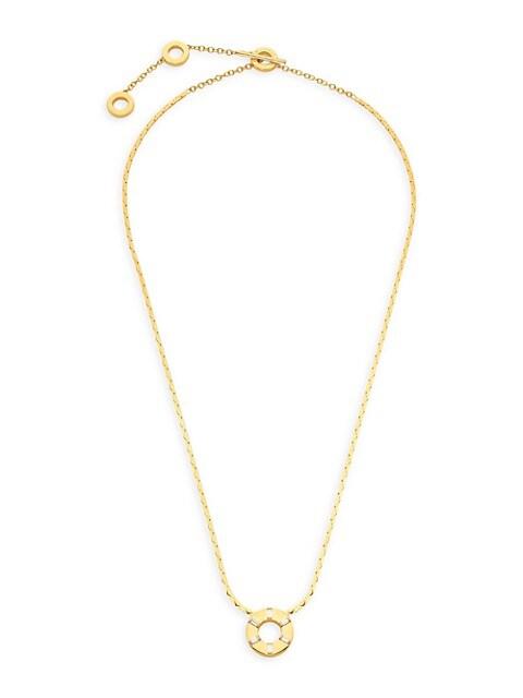 Light 18K Yellow Gold & Diamond Pendant Necklace