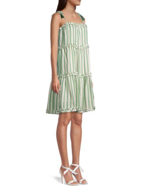 Tory Burch Stripe Linen Gauze Dress | SaksFifthAvenue