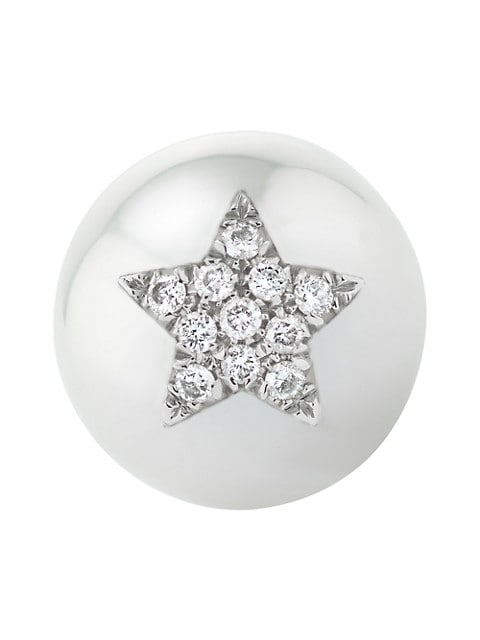 Pearl ID 18K White Gold, 11.5-12MM Pearl & Diamond Pavé Carved Star Single Stud Earring
