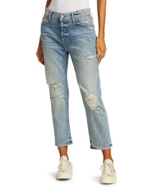 Mother The Scrapper Ankle Distressed Jeans   SaksFifthAvenue