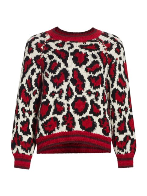 Mother The Boat Square Leopard Pullover   SaksFifthAvenue