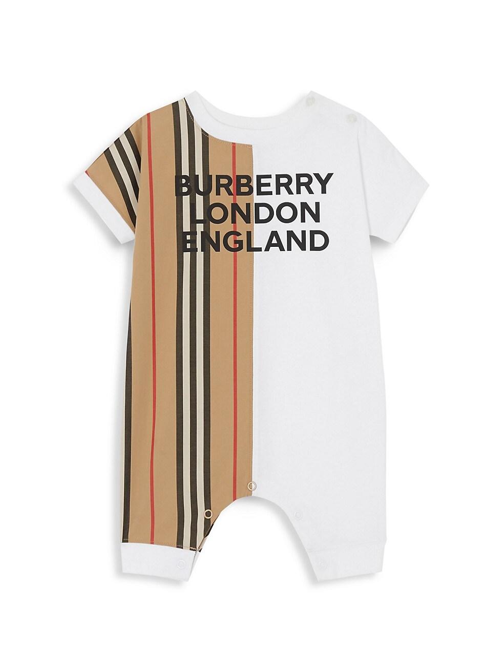 버버리 Burberry Babys Lennox Striped Romper,WHITE