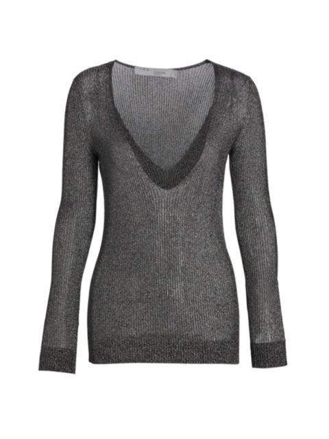 IRO Maegan Deep V-Neck Metallic Knit Sweater   SaksFifthAvenue