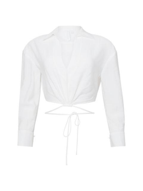 Jonathan Simkhai Mazzy Solid Strap Detail Crop Shirt | SaksFifthAvenue