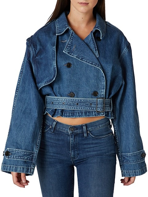 Cropped Denim Trench Coat