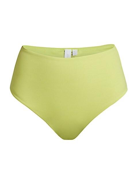 Cora Solid High-Waist Bikini Bottoms