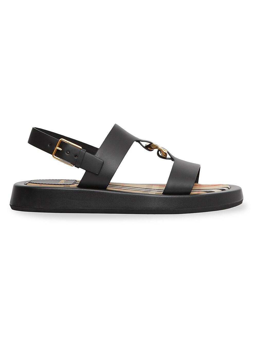Burberry Buckingham Leather Slingback Sandals