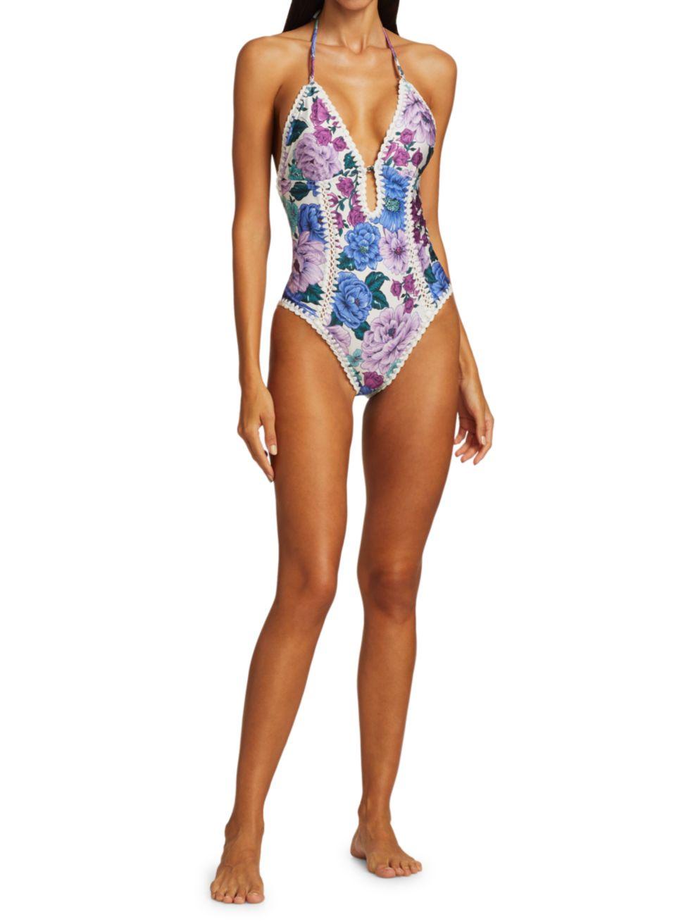 Zimmermann Poppy Crochet Floral One-Piece Swimsuit | SaksFifthAvenue