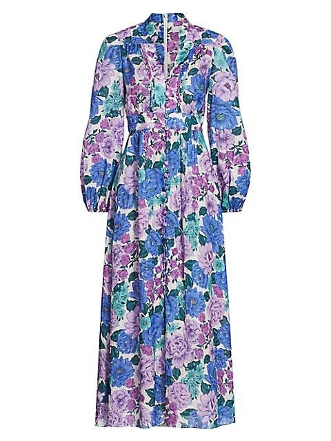 Poppy Floral Plunge Midi Dress