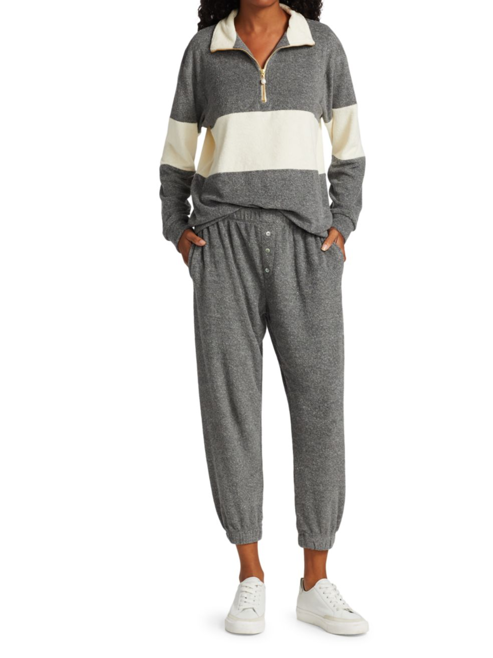Donni Rugby Stripe Terry Half-Zip Pullover | SaksFifthAvenue