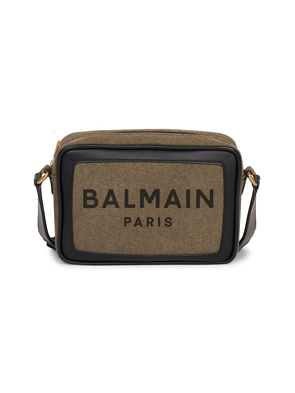 Balmain WOMEN'S B-ARMY LEATHER-TRIMMED CANVAS CAMERA BAG