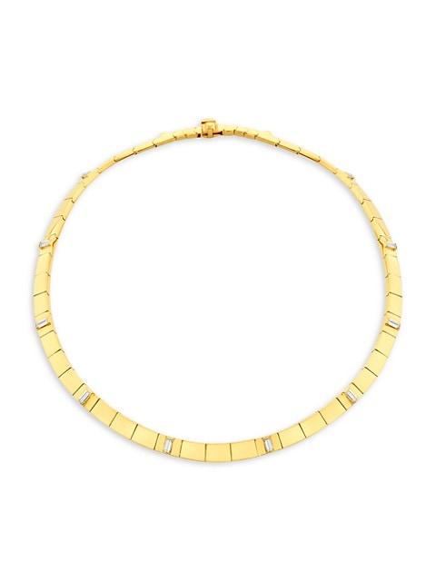 Light 18K Yellow Gold & Diamond Sole Collar Necklace