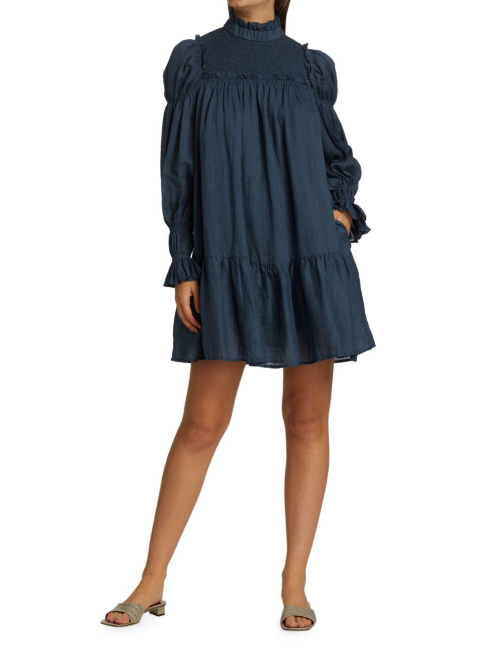 Sea Poet-Sleeve Ruffled Mini Dress   SaksFifthAvenue
