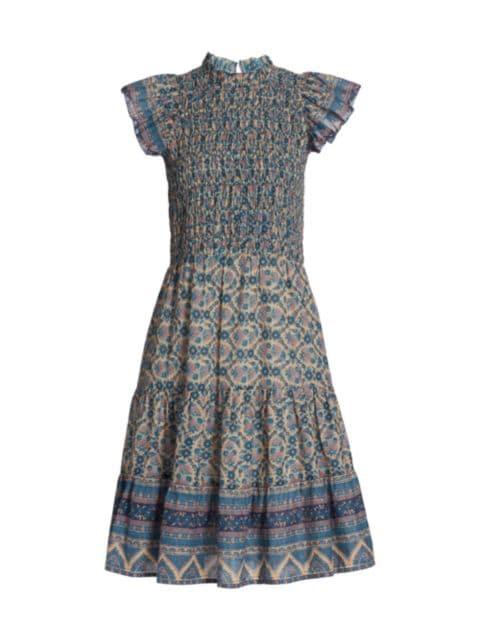 Sea Smocked Flutter-Sleeve Dress | SaksFifthAvenue