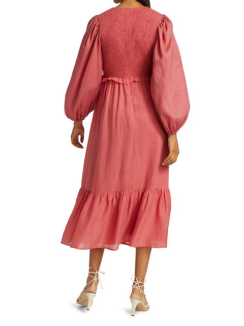 Sea Smocked Long-Sleeve Dress   SaksFifthAvenue