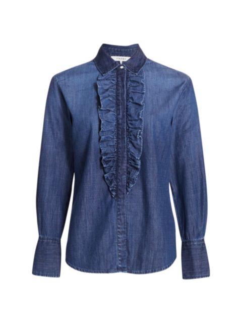 Frame Ruffled Denim Tuxedo Shirt   SaksFifthAvenue