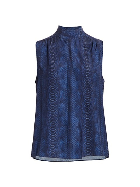 Snake Print Cravat Collar Sleeveless Silk Blouse
