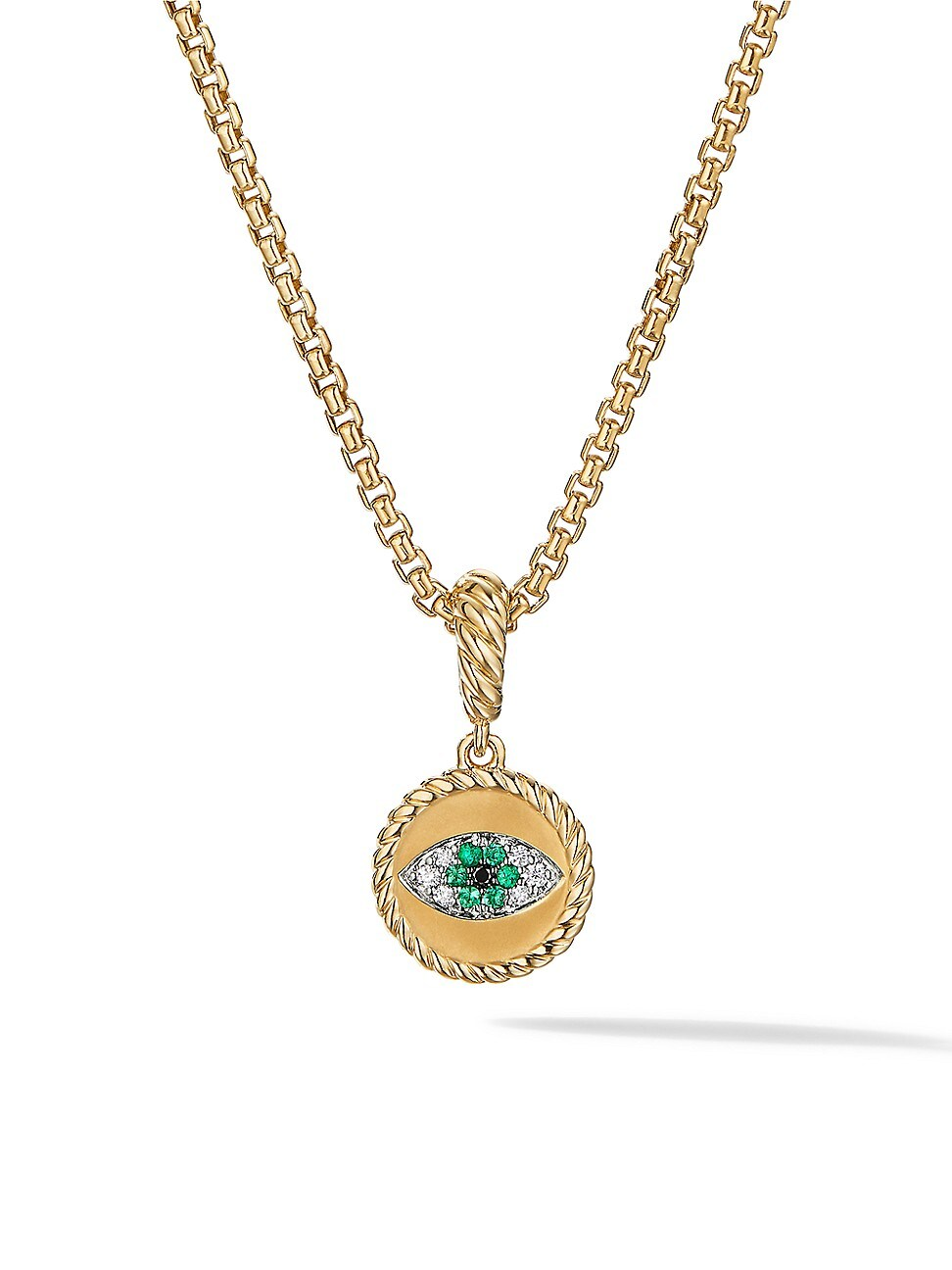 David Yurman Jewelrys WOMEN'S EVIL EYE AMULET IN 18K YELLOW GOLD WITH PAVÉ EMERALDS & DIAMONDS
