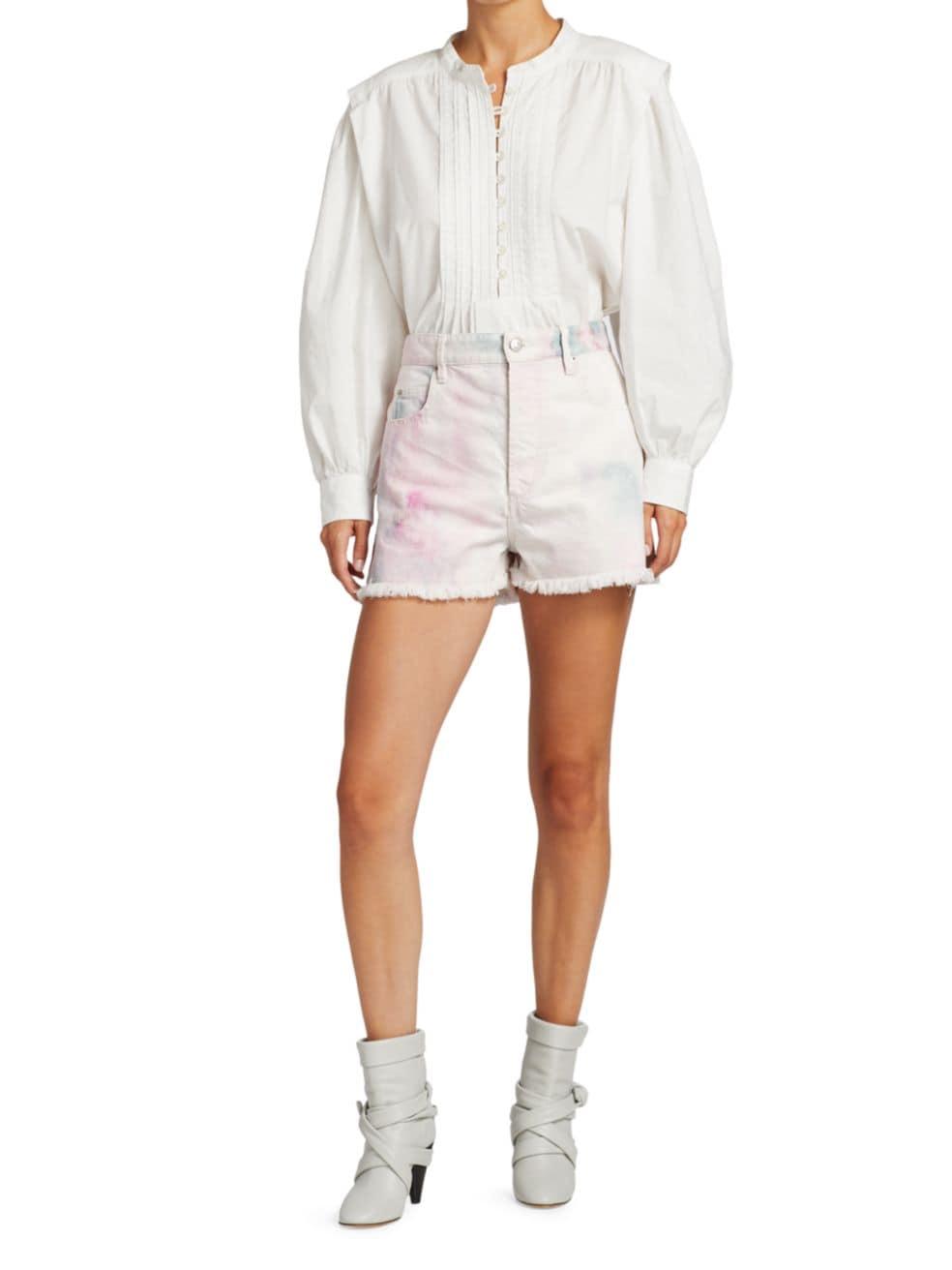 Isabel Marant Etoile Lesiab Tie-Dye Denim Shorts | SaksFifthAvenue