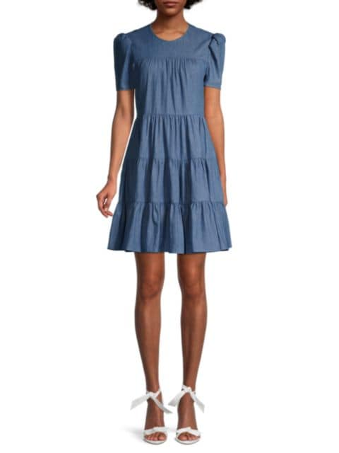 Likely River Chambray Tiered Dress   SaksFifthAvenue