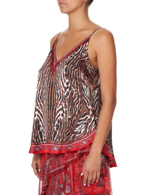 Camilla V-Neck Printed Silk Camisole | SaksFifthAvenue