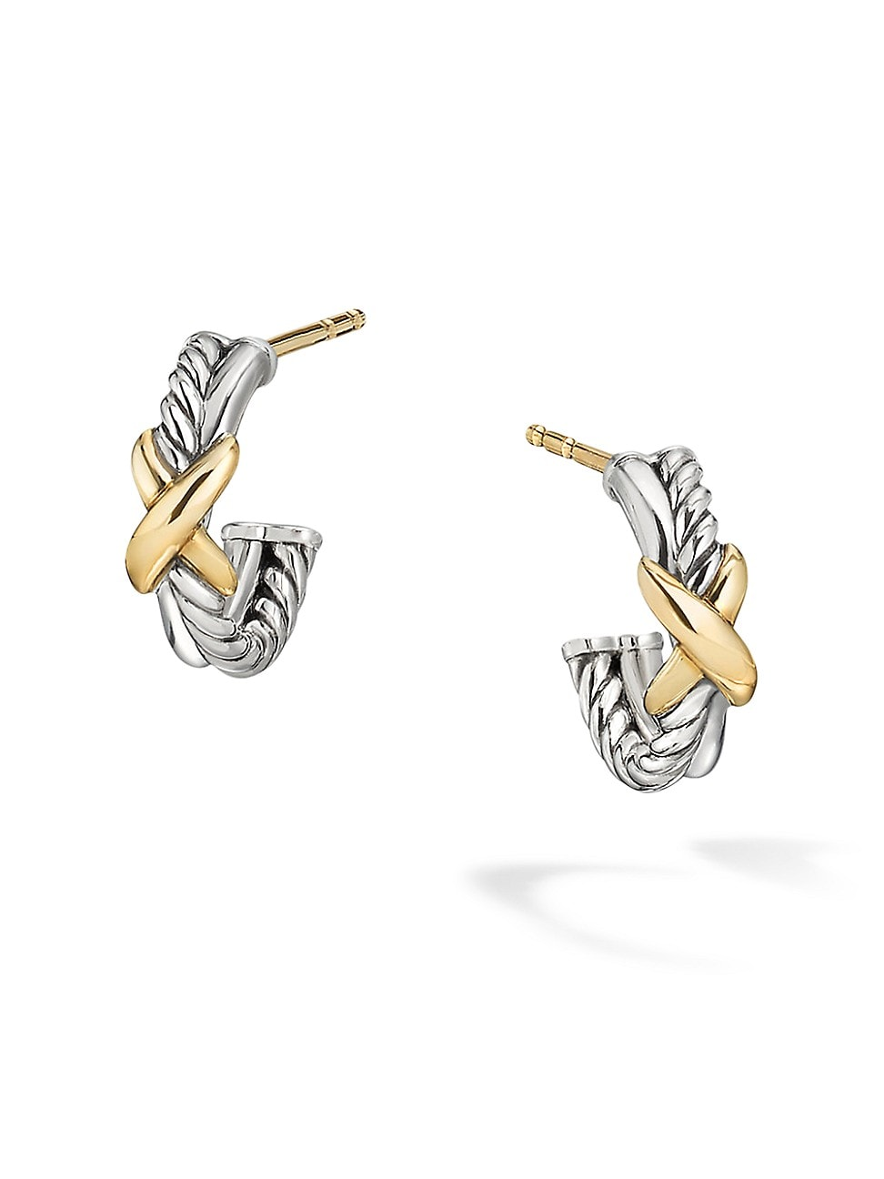 David Yurman WOMEN'S PETITE X MINI HOOP EARRINGS WITH 18K YELLOW GOLD