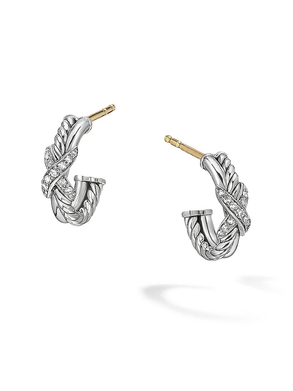David Yurman Earrings WOMEN'S PETITE X MINI HOOP EARRINGS WITH DIAMONDS