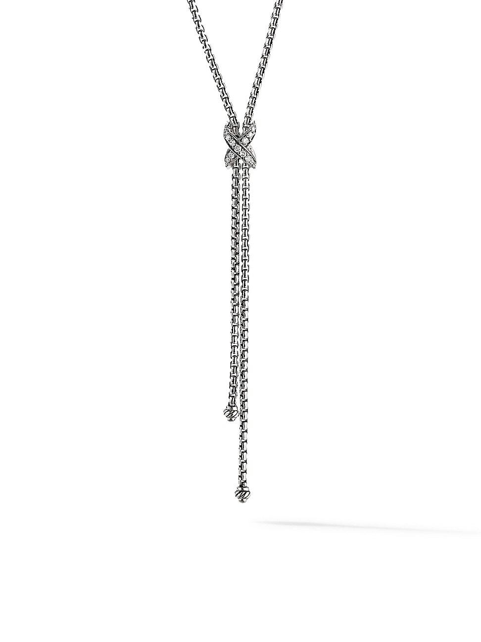 David Yurman WOMEN'S PETITE X LARIAT Y NECKLACE WITH PAVÉ DIAMONDS