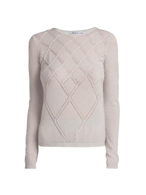 Diamond Seamed Stretch-Cashmere Sweater